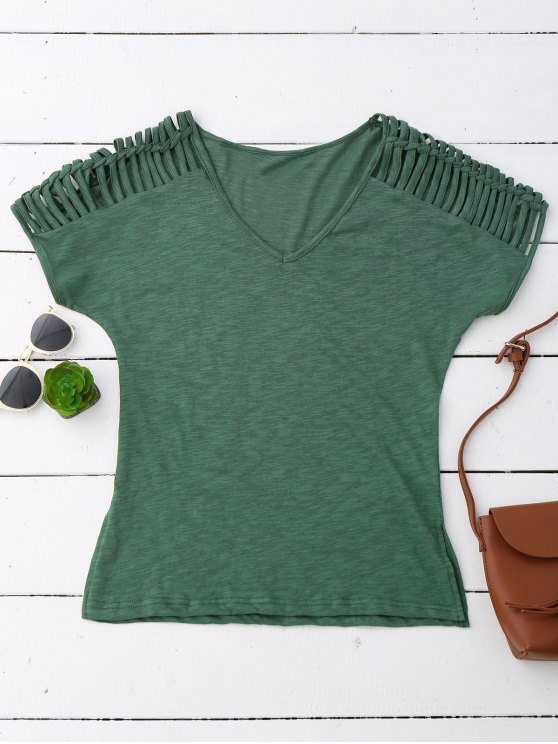 trendy V Neck T-Shirt With Ladder Details - ARMY GREEN S