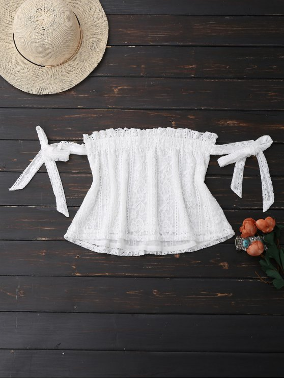 fashion Off Shoulder Lace Tie Sleeve Crop Top - WHITE S