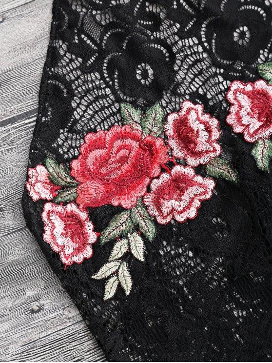 Floral Lace Halter Teddy Bodysuit - BLACK S Mobile
