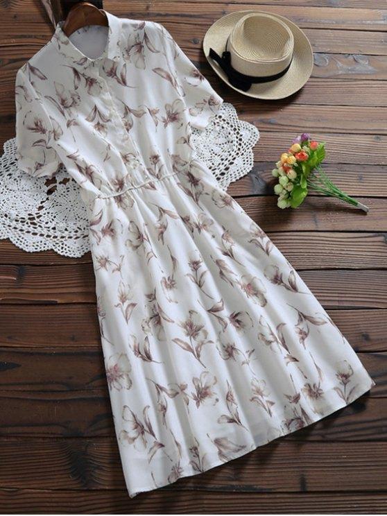 best Half Buttoned Floral Shirt Dress - WHITE XL