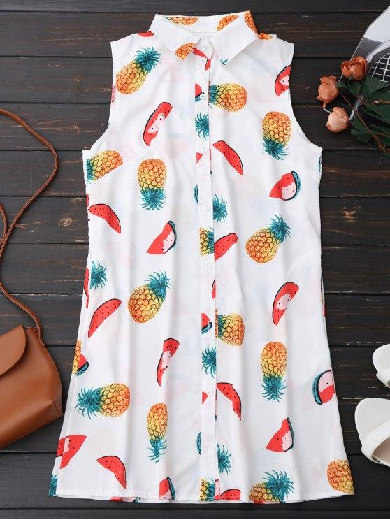 Robe chemisier imprimée ananas et pastèque sans manches - Blanc L
