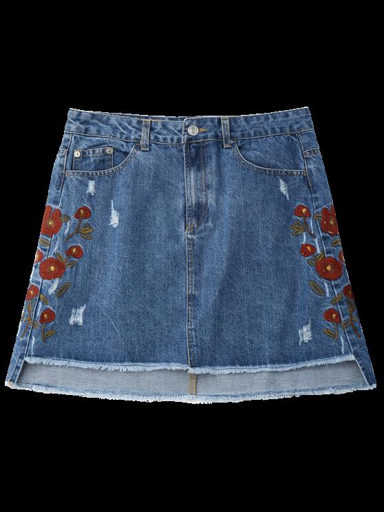Floral Embroidered Frayed Hem Denim Skirt - DENIM BLUE S Mobile
