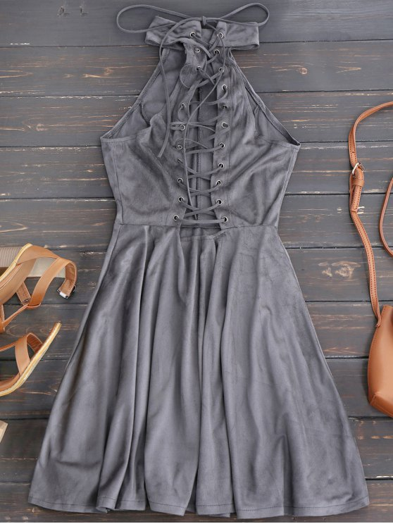 Faux Suede Lace Up Choker Skater Dress - GRAY M Mobile