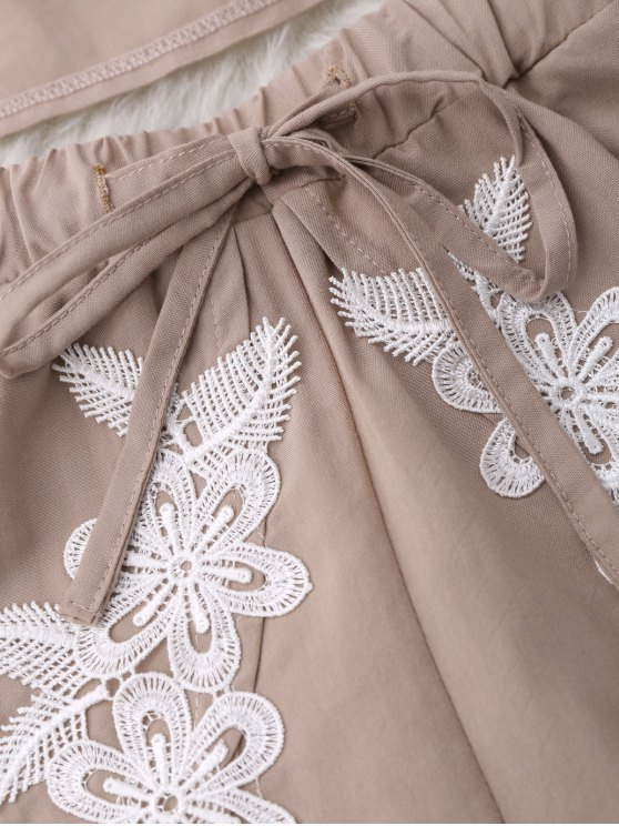 Drawstring Lace Applique Loungewear Suit - NUDE L Mobile