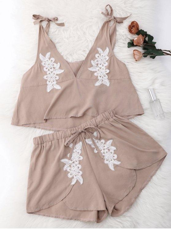 online Drawstring Lace Applique Loungewear Suit - NUDE S