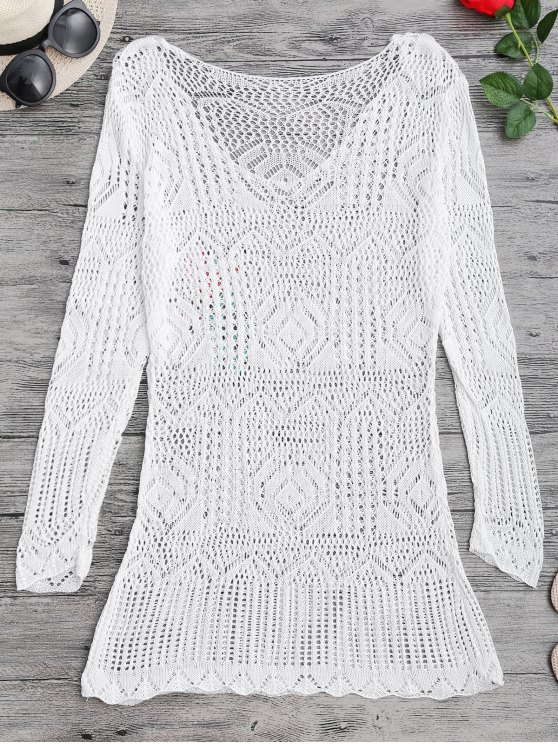 Long Sleeves Open Stitch Beach Cover Up Dress - WHITE ONE SIZE Mobile