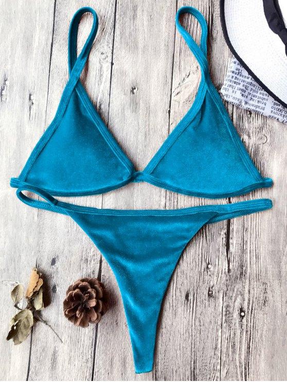Traje de Bikini con Thong de Tirant Fino de Terciopelo con Cordón - Pavo Real Azul M