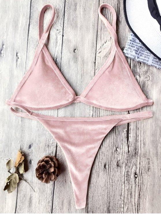 Traje de Bikini con Thong de Tirant Fino de Terciopelo con Cordón - Rosa XL