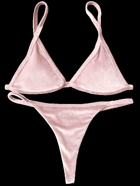 Cami Velvet String Thong Bikini Set - PINK S Mobile