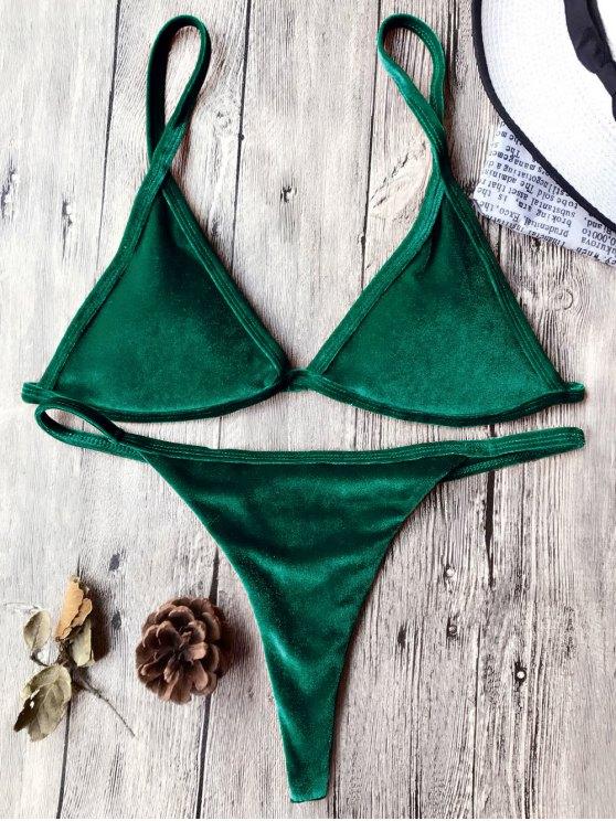 Traje de Bikini con Thong de Tirant Fino de Terciopelo con Cordón - Verde Oscuro S