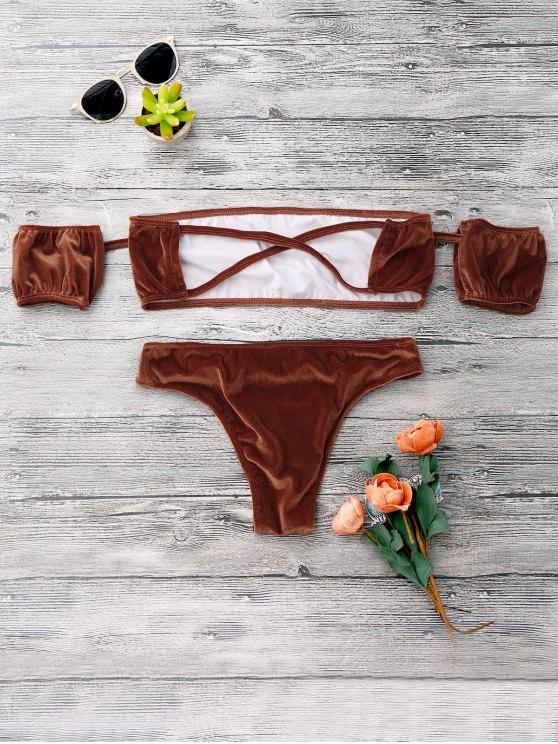 Velvet Off The Shoulder Bikini Swimwear - GOLD BROWN S Mobile