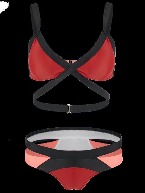 Patchwork Bandage Bikini Set - RED S Mobile