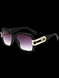 Oversize Hollow Cut Frame Gradient Lens Square Sunglasses - Matte Black+grey