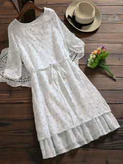 Ruffle Hem Floral Holiday Dress With Belt - White Xl