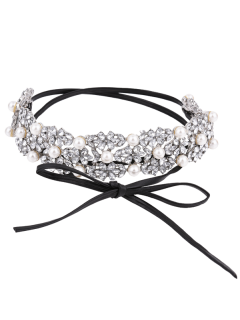 Faux Pearl Crystal Bows Choker Necklace - Silver