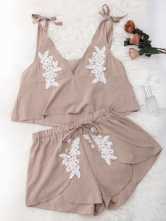 Drawstring Lace Applique Loungewear Suit - Nude S
