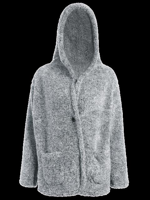 womens Hooded Fleece Coat - GRAY ONE SIZE Mobile