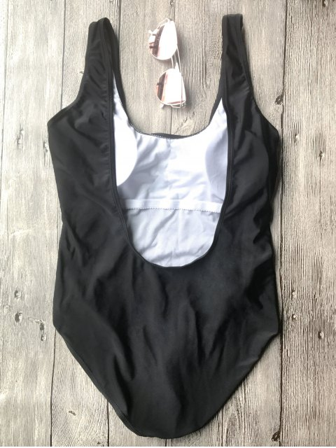 unique One Piece Backless Swimsuit - BLACK L Mobile