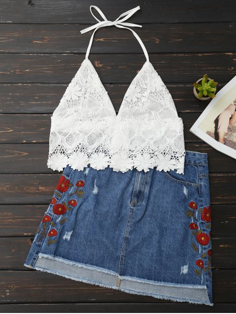 affordable Lace Scalloped Crop Top - WHITE ONE SIZE Mobile