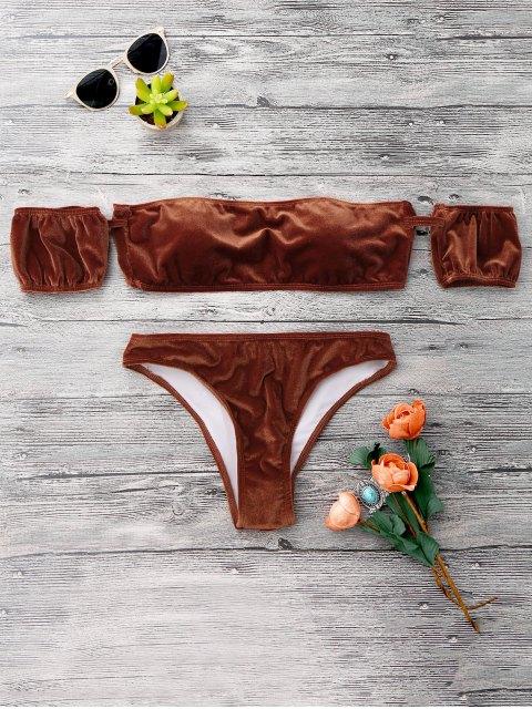 trendy Velvet Off The Shoulder Bikini Swimwear - GOLD BROWN S Mobile