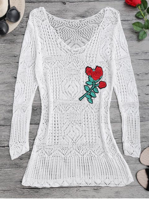 latest Long Sleeves Open Stitch Beach Cover Up Dress - WHITE ONE SIZE Mobile