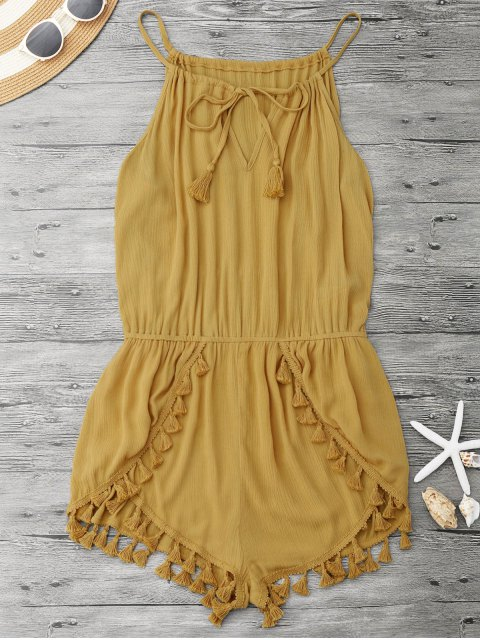 lady String Fringed Romper - YELLOW M Mobile