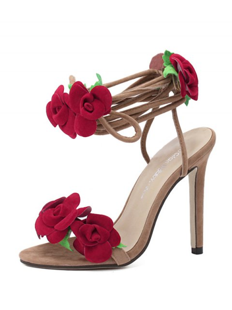 women Rose Lace-Up Stiletto Heel Sandals - APRICOT 35 Mobile