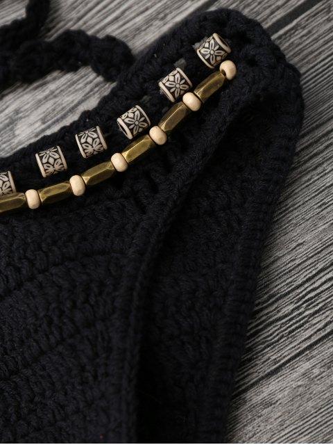 chic Beaded Crochet Bathing Suit - BLACK M Mobile