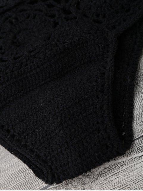womens Off Shoulder High Waisted Crochet Bikini - BLACK S Mobile