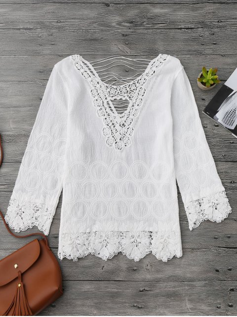 fancy Crochet Flower Cutout Beach Cover Up Top - WHITE ONE SIZE Mobile