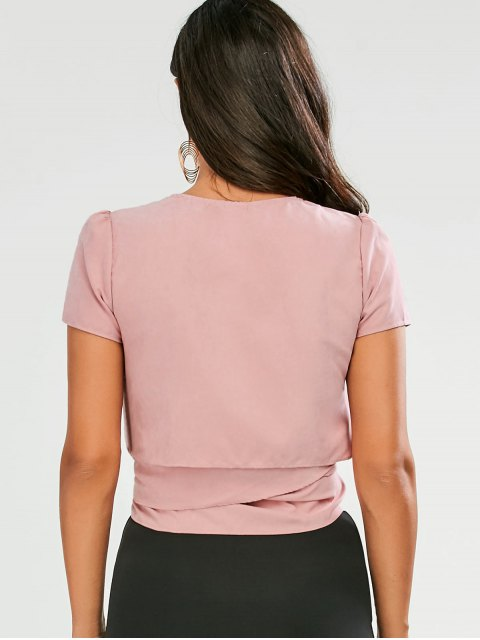 hot Cropped Wrap Top - PINK S Mobile
