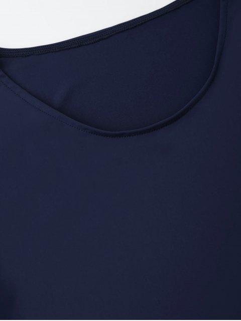 sale Laser Cut Tunic Shift Tee Dress - CADETBLUE S Mobile