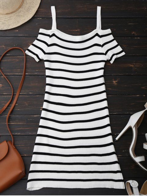 online Spaghetti Strap Cold Shoulder Striped Knit Dress - WHITE ONE SIZE Mobile