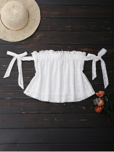 chic Off Shoulder Lace Tie Sleeve Crop Top - WHITE M Mobile