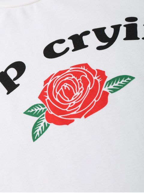 fancy Stop Crying Rose Crop Tee - WHITE S Mobile