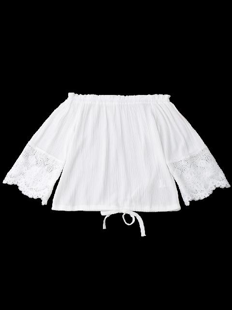 new Off Shoulder Drawstring Hem Blouse - WHITE XL Mobile