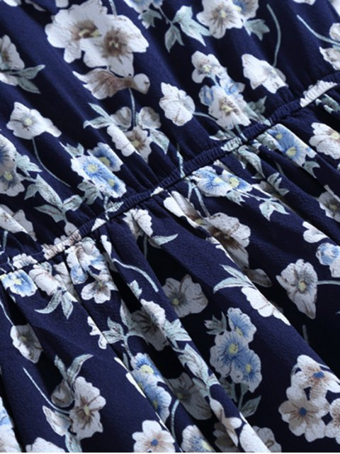 latest Bow Tie Floral Holiday Dress - CADETBLUE XL Mobile