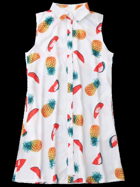 shop Sleeveless Pineapple Watermelon Shirt Dress - WHITE M Mobile
