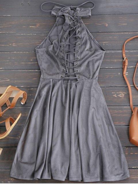 fancy Faux Suede Lace Up Choker Skater Dress - GRAY M Mobile