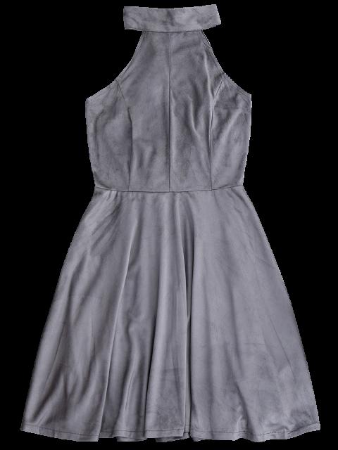 unique Faux Suede Lace Up Choker Skater Dress - GRAY S Mobile
