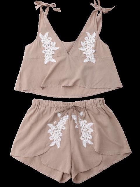 best Drawstring Lace Applique Loungewear Suit - NUDE M Mobile