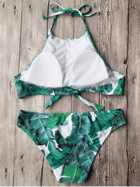 trendy Tropical Leaf Print High Neck Bikini - GREEN S Mobile