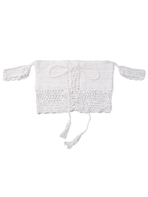 womens Knitted Off The Shoulder Bikini Bra - WHITE ONE SIZE Mobile