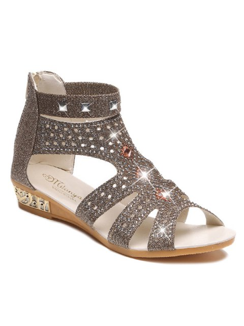 Strass Zipper Rivets Sandals - Or 38 Mobile