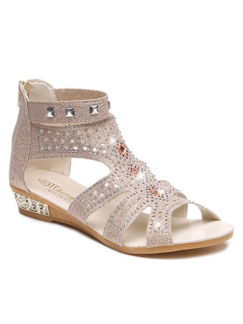 Strass Zipper Rivets Sandals - Abricot 38 Mobile