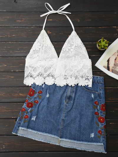 Lace Scalloped Crop Top - White