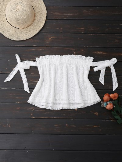 Off Shoulder Lace Tie Sleeve Crop Top - White