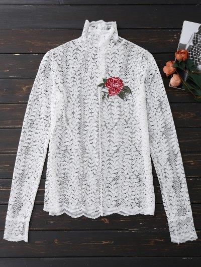 Mock Neck Floral Lace Top