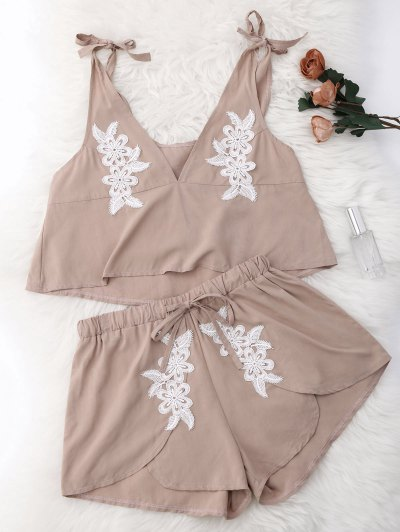 Drawstring Lace Applique Loungewear Suit - Nude