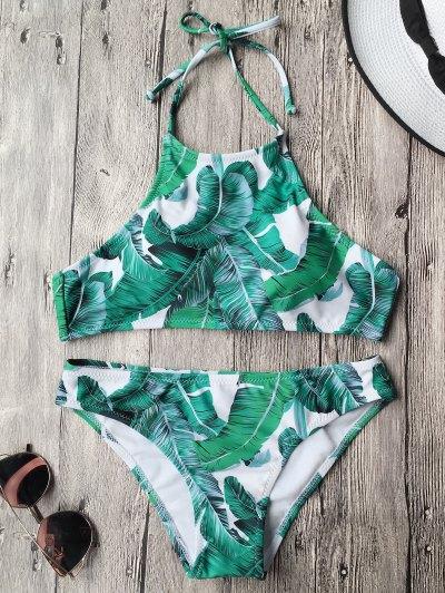 Tropical Leaf Print High Neck Bikini - Green